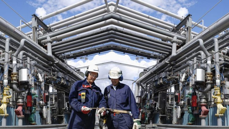 oil and gas workers inside power industries